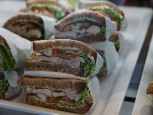 A plate with sandwiches.