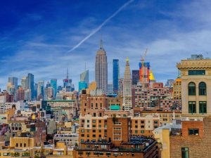 A skyline of NYC during the day.