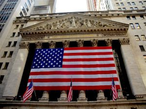 A large US flag hung across the Stock Exchange. No city in America holds as many opportunities as the Big Apple!