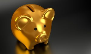 A gold piggy bank.