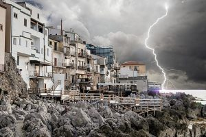 A lightning and buildings