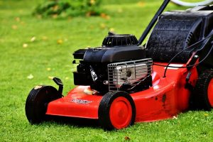 A lawn mower on grass