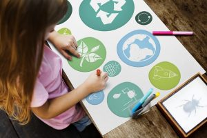 Going green in your storage unit - girls making eco-friendly board