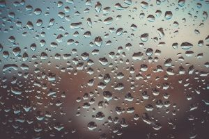 Drops on glass.