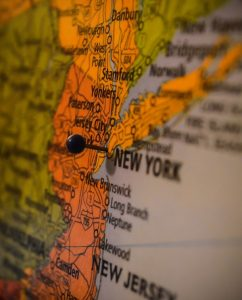 Map close up with NYC pinned