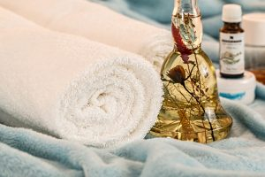 Towel and essential oil.