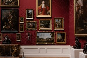 A gallery filled with antique artwork