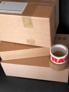 cardboad boxes, packing tape