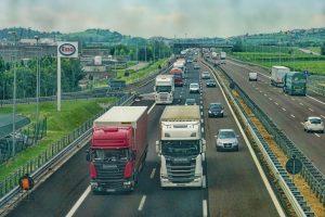 Trucks on the highway