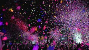 A huge party with confetti